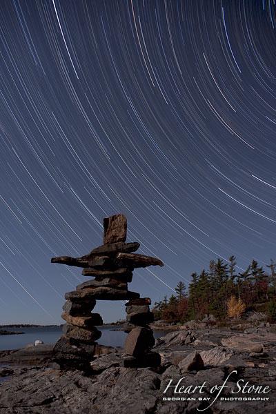 Inukshuk star trails, Sans Souci, Georgian Bay. Photo by Sean Tamblyn.
